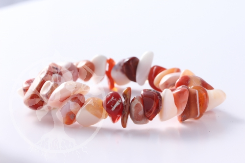 Fire Opal Bracelet with tumkbled rounded Chips