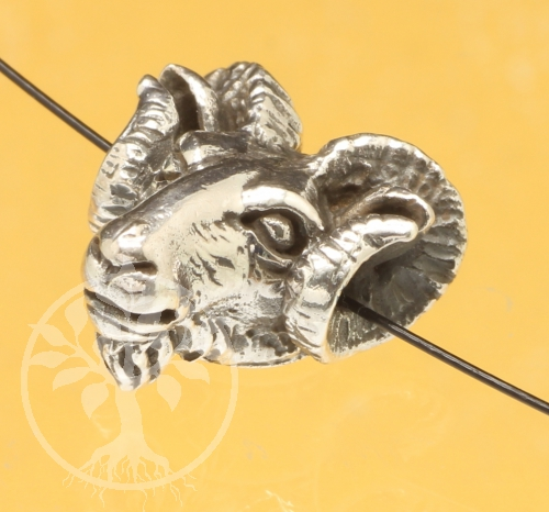 Silver Beads Goat Head 925 sterling silver 14x13mm