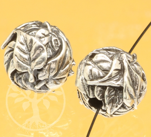 Silber Perlen Blätter Kugel Sterlingsilber 925 11mm