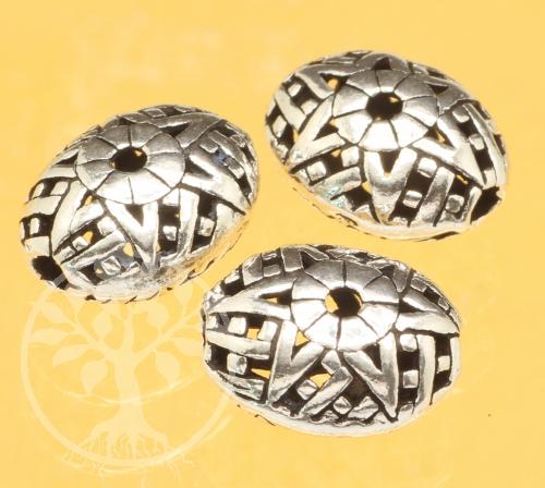 Silver Bead Bagua Star Sterling Silver 925 12x10mm