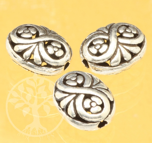 Silver Flowers Bead Infinity Sterling Silver 925 13x10mm