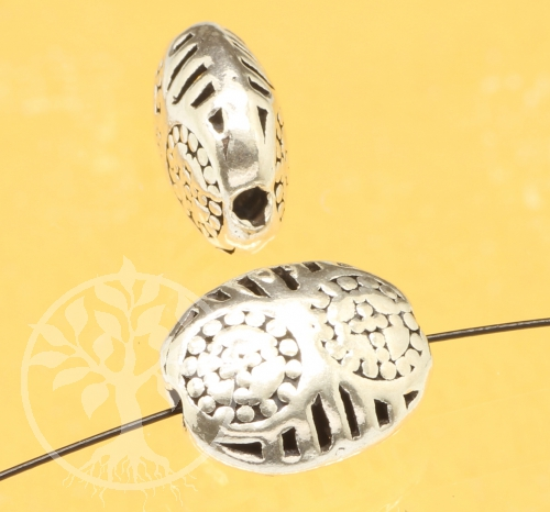 Silver Bead Sun Sterling Silver 925 13x10mm