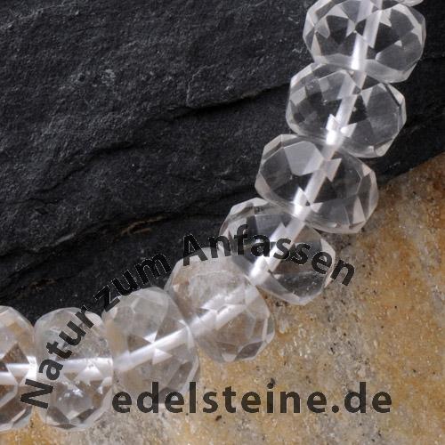 Bergkristall Button Perlen Facettiert 8 mm