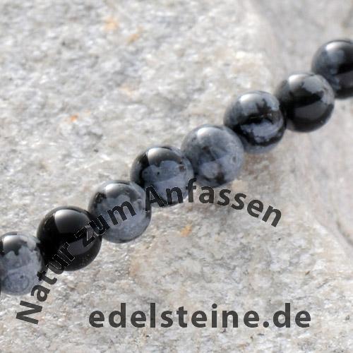 Schneeflocken Obsidian Mini Perlen Kugel 6mm/40cm