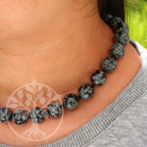 Halskette mit Schneeflocken Obsidianperlen ca. 45cm/16mm - Obsidia