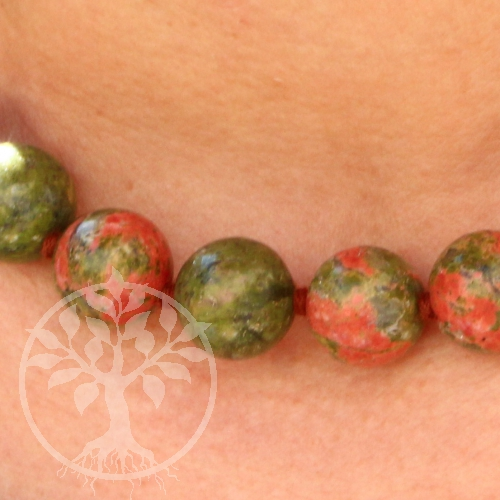 Unakite necklace ca. 45cm unakite beads 16mm