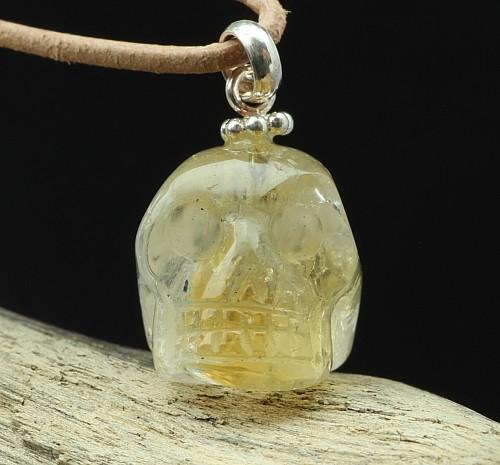 Citrin Schädel Anhänger Kleiner Kristall Schädel 24X15mm 925er Silberöse