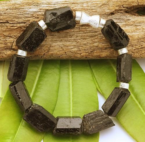 Turmalin Edelstein Armband Roh Perlen 925
