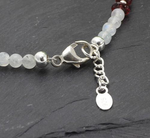 Regenbogen Mondstein Armband mit Granat und Silber 925 20cm