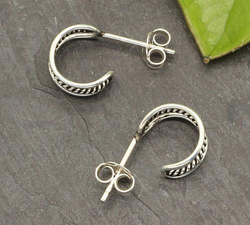 Creole Ohrstecker zeigende Mitte Silber 925 18x10mm Ohrring