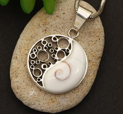 Anhänger Yin-Yang aus 925 Silber mit Struktur durchbrochen in der Mitte Damen