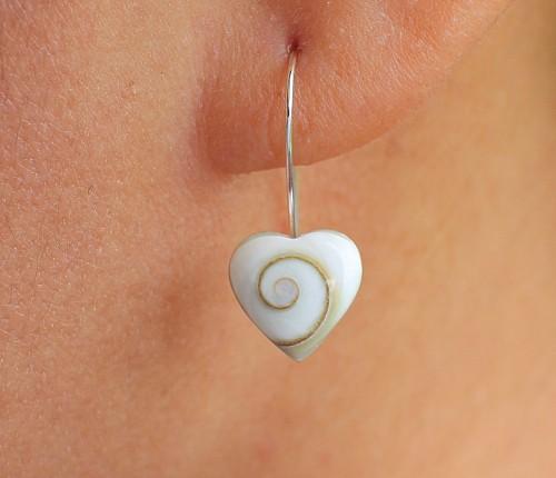 Shiva Muschel Silber Ohrhänger in Herzform Silber 925 22x10mm
