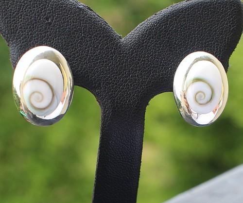 Silber Ohrstecker Shiva Muschel Oval Silber 925 17x13mm