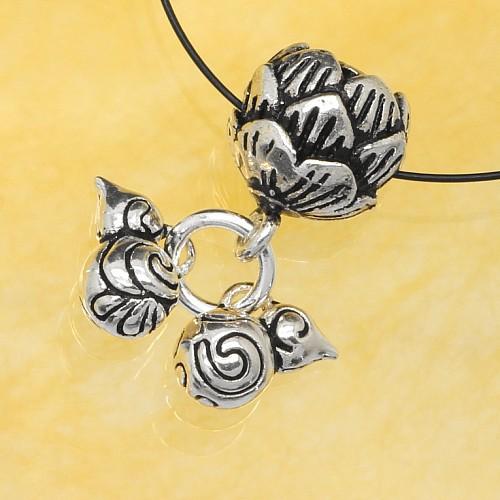 Perle Charm Anhänger Lotus Blume Silber 925 Länge 20mm