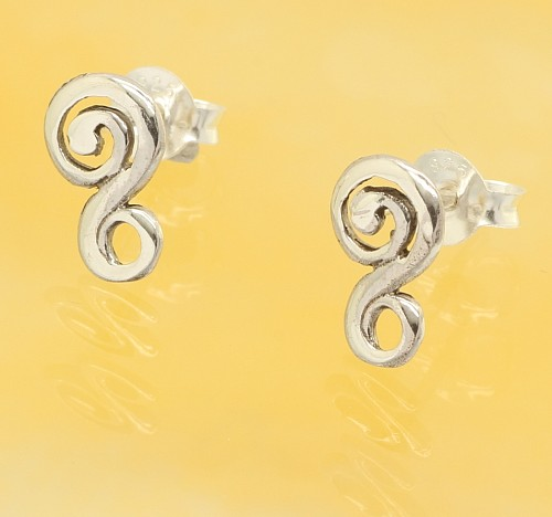 Pierced earrings whirlwind sterling silver 925 10mm