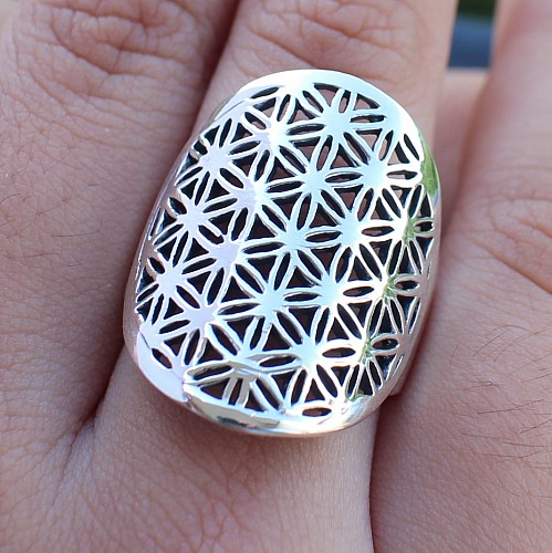Silver Rings Flower of Life Sterlingsilver 925 25mm