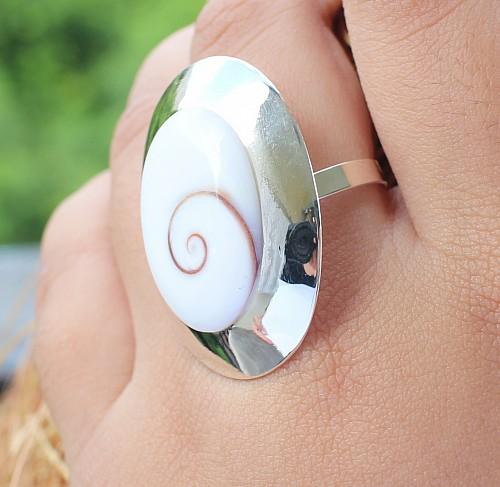 Shiva shell silver ring sterling silver 33x25mm