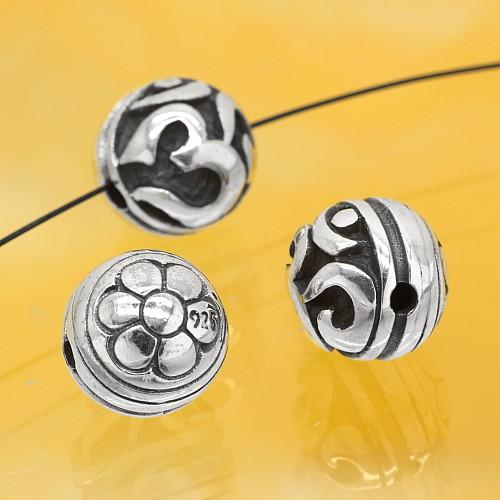 Silberperle Om Sterling Silber 925 10mm