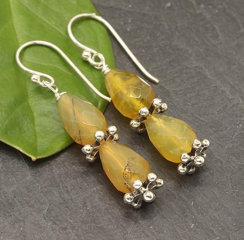 Honig Opal Earrings Sterling Silver 925 31mm