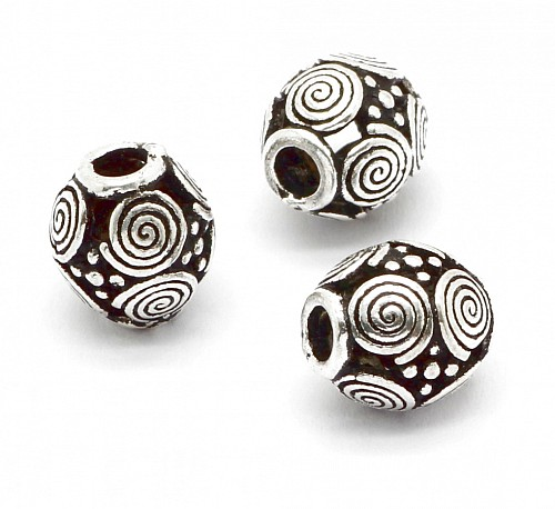 Oxidized Silver Bead Sterlingsilver 925 8x7mm