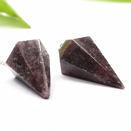 Granat Edelstein Pendel facettiert mit Bergkristallperle Länge 37mm