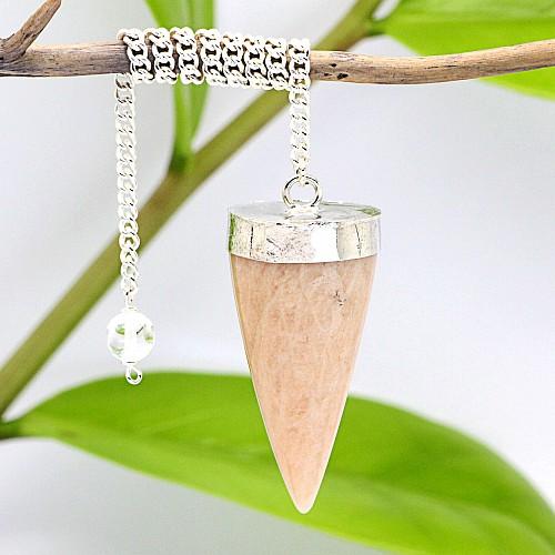 Mondstein Pendel Kegel mit Metallfassung und langer Kette mit Bergkristallperle 40mm