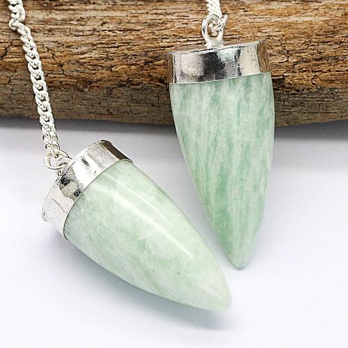 Amazonit Pendel grünes Steinpendel Kegel 40mm mit Metallfassung und Bergkristallperle