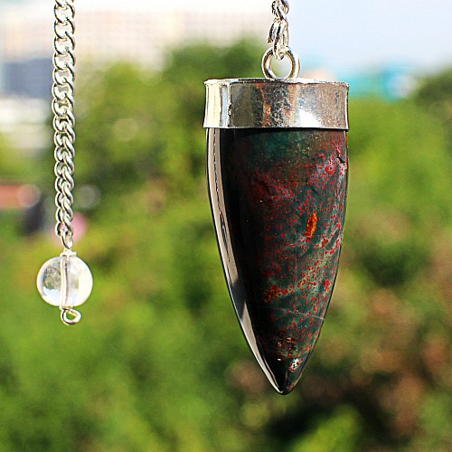 Heliotrop Pendel Edelsteinpendel mit Metallrahmen und Bergkristall Perle 40mm