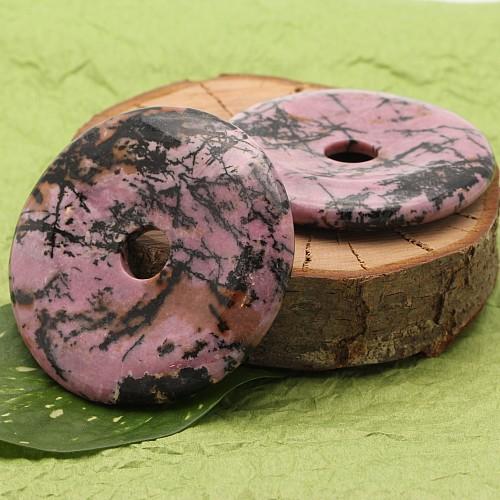 Rhodonit Donut Steinscheibe Steinanhänger 65-70mm