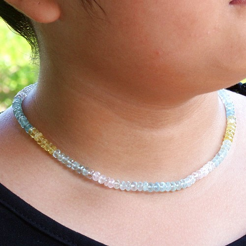 Halskette Aquamarin facettiert mit 925er Silberverschluss 45cm