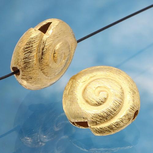 Silberperle vergoldet großes Schneckenhaus Perle 925er Silber vergoldet 18mm