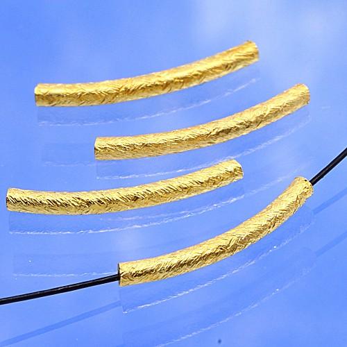 Gold Röhrchen Perle gebogen 19mm Silber 925 vergoldet gebürstet