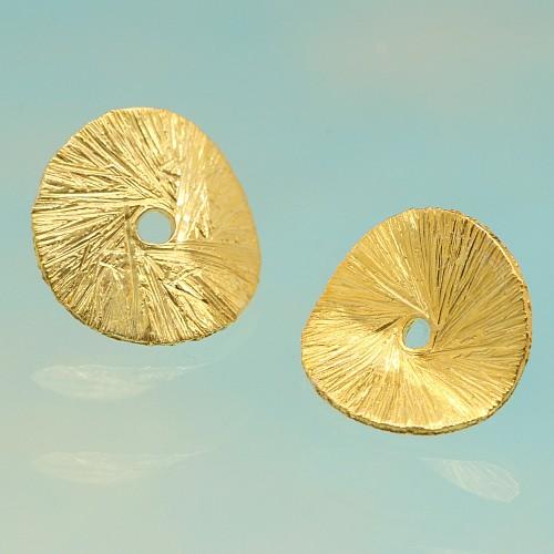 Zwischenteil Gold Scheibe gebogen gebürstet Silber vergoldet 12mm