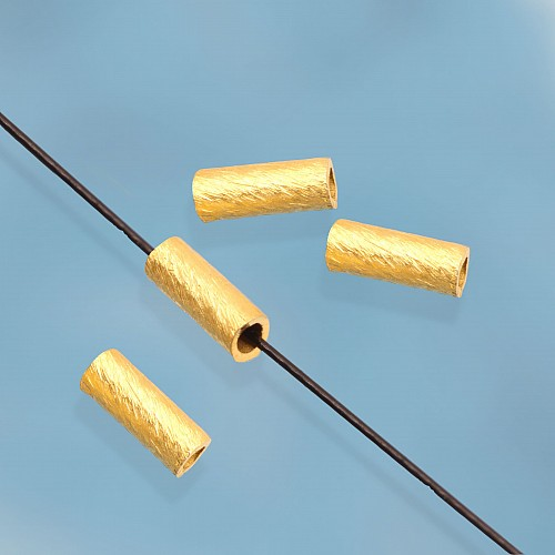 Silver Longitudinal Bead Brushed Gold plated Sterlingsilver 925 4x2mm