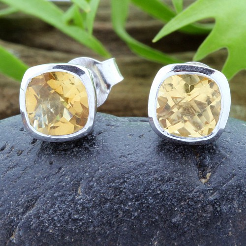 Citrine Gemstone Studs Faceted Square Sterling Silver 925 7x7mm