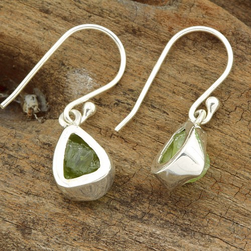 Peridote Gemstone Earring Raw Sterling Silver 925 Olivin 10/26mm