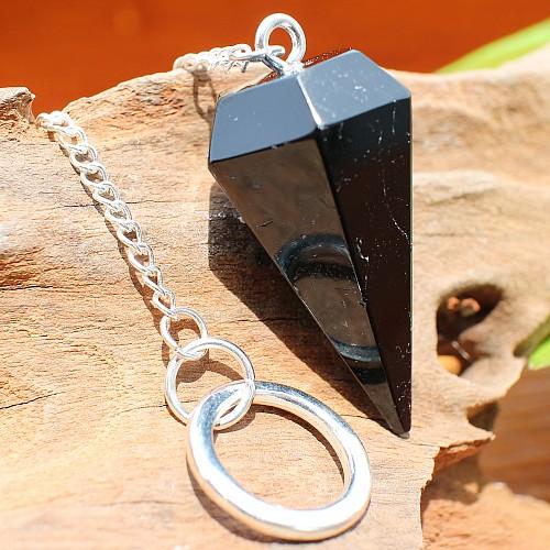 Turmalin Edelstein Pendent Schörl Pendel mit großem Silberring 40mm