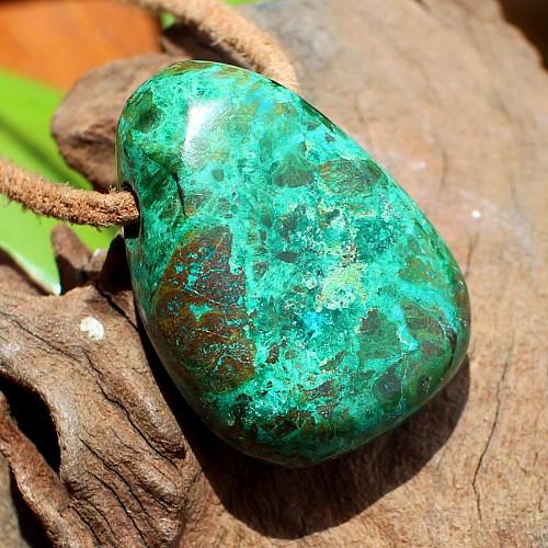 Chrysokoll Edelstein Anhänger Tropfenform grün 28-35mm