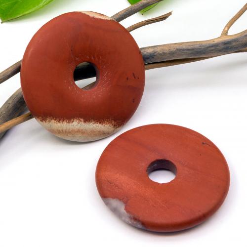 Roter Jaspis Donut Anhänger Stein matt 50 mm