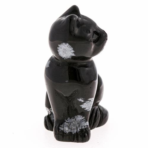Obsidian Edelstein Katze Figur 42X30mm Schneeflockenobsidian