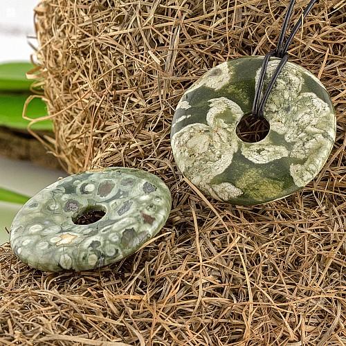 Rhyolith Anhänger Stein Form Donut 40 mm