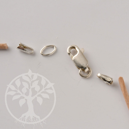 Leather Claw Set, Silver 925 Endcaps with clasp for 4mm leather string