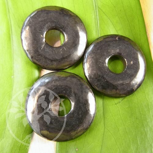 Schungit Donut Anhänger Shungit Scheibe 50mm Karelien