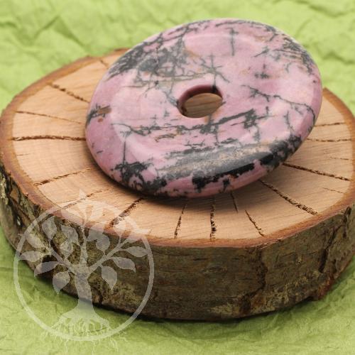 Rhodonit Donut Steinscheibe Steinanhänger 40mm