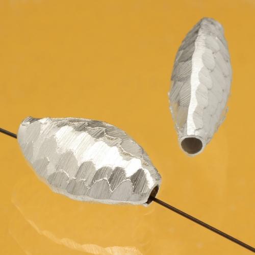 Silberperle Fisch Sterling Silber 925 gebürstet 28x17mm