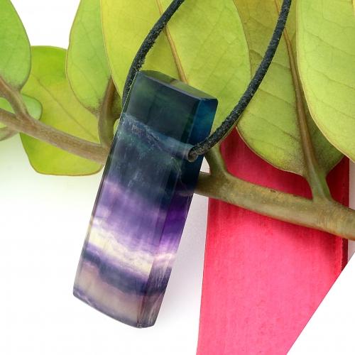 Fluorite Gemstone Pendant Rectangled 48x18mm