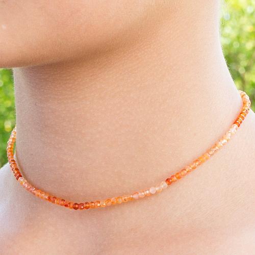 Carneol Halskette 45cm facettierte Karneol Perlen Verlauf 3mm