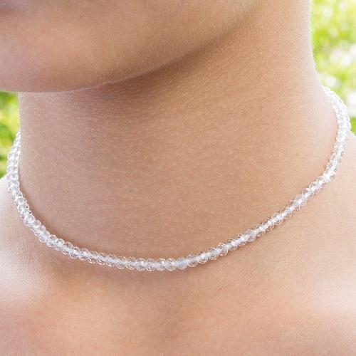 Topas Edelstein Halskette transparent 45cm facettierte Topas Perlen 3mm