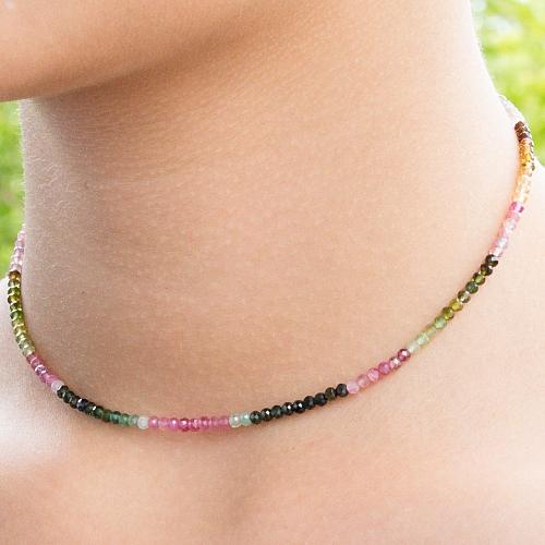 Turmalin Edelstein Halskette 45cm Multicolor Facettierte Turmalin Perlen ca. 3mm
