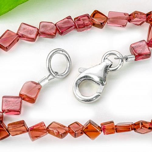 Granat Halskette 44cm Granat Perlen Quader diagonal gebohrt 6-3x2mm